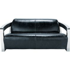 Black Leather Sofa With Metal Frame For Living Room Design.  Www.ataglancedecor.com