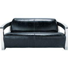 Black Leather Sofa With Metal Frame For Living Room Design.  Www.ataglancedecor.com