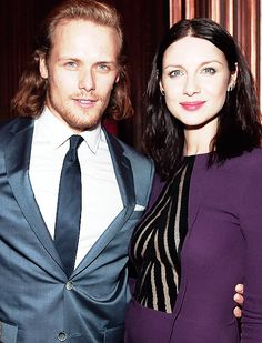 sam and catriona NYC/tartan affair outlander premiere