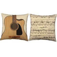 Guitar Instrument Throw Pillows - Set of 2