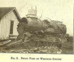 Wrecked engine, locomotive explosion, Smithville Texas 1911
