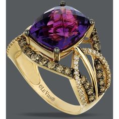 Le Vian 14k Gold Ring, Amethyst (4-5/8 Ct. T.W.) And White And Chocolate Diamond (9/10 Ct. T.W.) Ring, found on polyvore.com