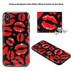 iPhone X Case Bling Diamond Design Stylish Luxury Easy Grip Slim Cover Red  Lips  Mthinkor 3126f1f0af11