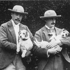 "#edwardperrywarren one of the world's greatest #collectors and his partner #johnmarshall photographed with their #dogs in the #1890s. Warren commissioned a version of #thekiss from #rodin in #1900 for his home #Lewes #house in #eastsussex. This version was recently shown in #sydney in the @artgalleryofnsw exhibition ""#nude: Art from the #tate collection."" #valentine #romance #kiss #samesamebutdifferent #hats #moustache"
