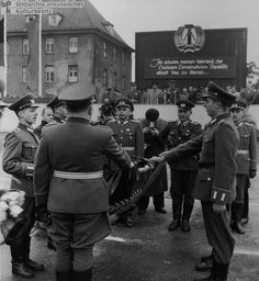 This is an image of East Germany setting up the Germans People Police and the German Border Police. This was in response to the signing of the NATO treaty by West Germany. This is a product of the Cold War and shows how Germany was so divided in the 1950's.