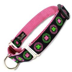 Irish Celtic Martingale Collar with Clover on Pink - For all your lovely Irish Lasses! No mistaking the Irish Girl in this feminine Irish martingale Collar.