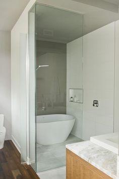 Emily quartz bathtub by Caml-Tomlin in bathroom of Quebec retreat by boom town.