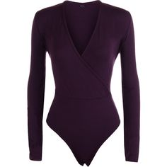 Alysha Wrap Long Sleeve Bodysuit (23 CAD) ❤ liked on Polyvore featuring intimates, shapewear and purple