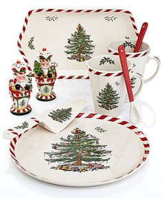 Spode Dinnerware, Christmas Tree Peppermint Collection