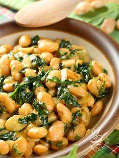 fresh bean salad w/ spinach Vegetable Recipes, Vegetarian Recipes, Cooking Recipes, Healthy Recipes, Italian Dishes, Italian Recipes, Italy Food, Spinach Salad, Bean Salad