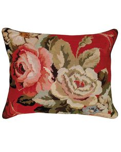 Diagonal Flowers Needlepoint pillow from Home Comfort