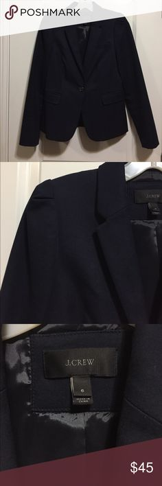 J Crew navy jacket Great for work, cute detailing at shoulder. Worn twice, in excellent condition. J. Crew Jackets & Coats