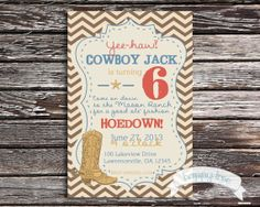 Cowboy boot birthday invitation for boy or by happytreegraphics, $15.00