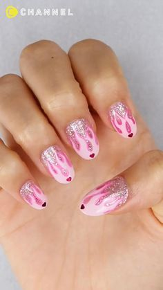 Nail Art Designs Videos, Nail Art Videos, Simple Nail Art Designs, Pink Nail Art, Pink Acrylic Nails, Pink Art, Teen Nail Art, Colorful Nail Art, Diy Nails