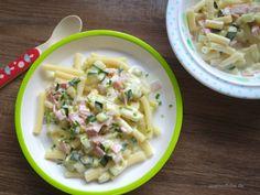 Rezept für Kinder Carbonara, lecker zubereitet mit Zucchini, Schinken und Frischkäse, ist eines der Lieblingsgerichte meiner kleinen Tochter geworden.