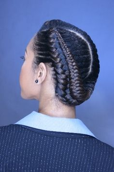 Cornrows with fishtail finish