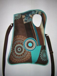 CANVAS BAG in Brown-Turquoise-Beige with Circles