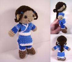 Katara from Avatar! Cute use of beads for the hair loopies. Basic human pattern linked on the post.