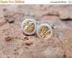 stud earrings gold circle studs sterling silver round cup earrings with gold leaf post earrings Silver Rounds, Gold Studs, Gold Leaf, Gold Earrings, Gifts For Her, Jewels, Gold Rush, Super Mom, Satin Finish
