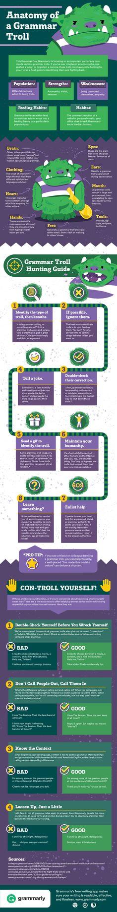 The Anatomy Of A Grammar Troll | Dealing With Grammar Trolls | #SocialMedia #Infographic