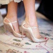 Gold Louboutin Peep Toe Shoes