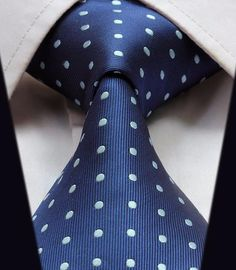 White Dotted on Blue Style Necktie by Hisdern