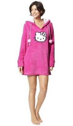 Hello Kitty Hoodie Womans Juniors Hooded Sleepshirt Sleepwear Plush Pink Microfleece Cat Face Hoodie Pajamas Shortie PJ Top « Clothing Impulse