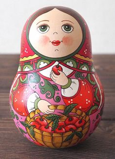 Hand Painted Roly Poly Doll. Russian doll. Hanmade russian