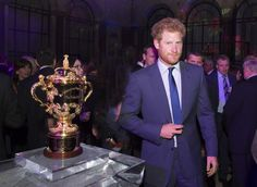 Prince Harry about to give a speech at the welcome party.