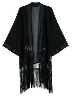 Black fringe 1920s inspired coat wrap - Black Floral Kimono Cardigan With Fringe