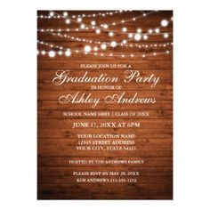 3419 best graduation party invitations images on pinterest rustic wood lights graduation party invitation filmwisefo