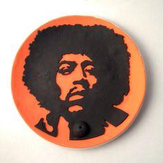 "Polymer Clay Jimi Hendrix ""Orange Jimi"" Incense Holder"