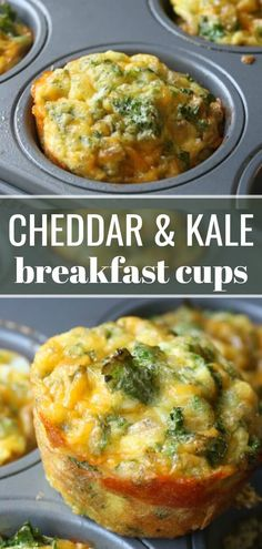 Baked Kale and Cheddar Breakfast Cups. You can chopped ham, bacon or mushrooms for a hearty breakfast on the go! Baked Kale and Cheddar Breakfast Cups Egg Recipes, Gourmet Recipes, Vegetarian Recipes, Cooking Recipes, Healthy Recipes, Baked Kale Recipes, Recipes For Kale, Healthy Meals, Healthy Food