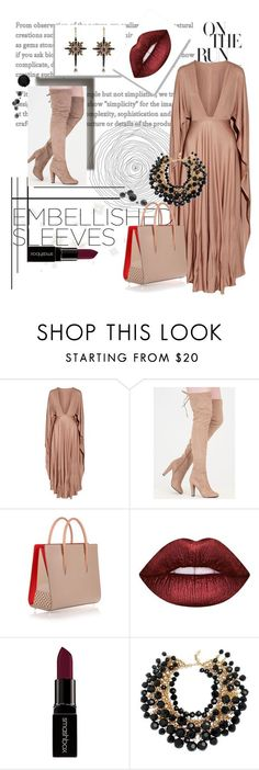 Untitled #223 by meagosen ❤ liked on Polyvore featuring Valentino, Christian Louboutin, Lime Crime, Smashbox, Yves Saint Laurent and Alexander McQueen