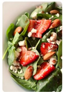 Spinach, Strawberry & Goat Cheese Salad with Pomegranate Vinaigrette