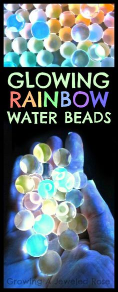 To make glowing RAINBOW Water beads all you have to do is soak water beads in water that has been mixed with glow in the dark paint. I love playing with the water beads (so do the kids). So fun!
