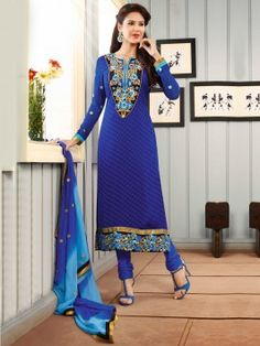 Blue Art Silk Suit With Resham And Zari Embroidery Work