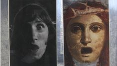 A picture of Pink Floyd band member Roger Waters is displayed next to an ancient portrait. Picture: Peter Simpson