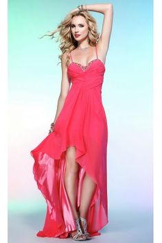 b461ebd7e3 Semiformal SkyBlur or Strawberry High-low Spaghetti Straps Bead-edged  Sweetheart Ruched Bodice Chiffon Overlay Evening Dresses Homecoming Dresses
