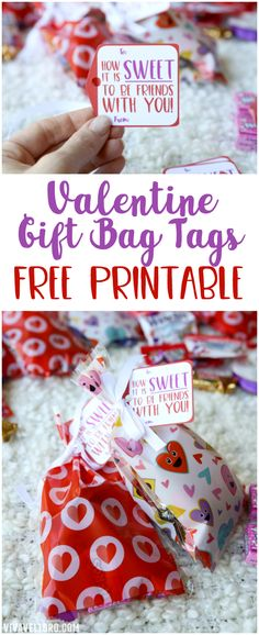 Skip the Valentine cards and bag up some sweet treats!  Grab this Valentine gift tags printable for your kids. These Valentine's day treat bags are adorable! #valentine #valentinesday