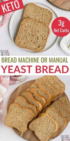 This is the best homemade low carb yeast bread recipe that I have found that gets great results every time. Can be baked in a bread machine or the oven. Keto Bread Machine Recipe, Yeast Bread Recipes, Almond Flour Recipes, Best Keto Bread, Low Carb Bread, Real Food Recipes, Dessert Recipes, Diet Recipes, Healthy Recipes