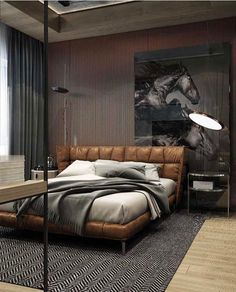 Cool Masculine Bedroom for Mens with Brown Leather Bedroom and Horse Wall Pict D. Cool Masculine Bedroom for Mens with Brown Leather Bedroom and Horse Wall Pict Decor Men's Bedroom Design, Home Decor Bedroom, Bedroom Ideas, Bedroom Furniture, Bedroom Bed, Bedroom Interiors, Bedroom Inspo, Bedroom Flooring, Furniture Decor