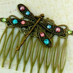 New in my shop: Sparkling dragonfly hair comb, also available in silver color.