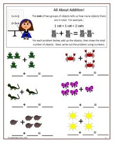 Two free worksheets you can use to teach addition to your students.  The first is an Introduction to Addition page; the second is a simple problem page.  Kindergarten Common Core K.OA.1.