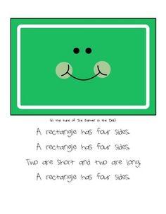 Preschool Math Shapes songs featuring Triangle, square, circle, and rectangle. Preschool Songs, Preschool Lessons, Preschool Classroom, Kindergarten Math, Preschool Activities, Preschool Planner, Preschool Shapes, Therapy Activities, Classroom Ideas