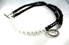 Black and Pearl Necklace by BernsAndOdy on Etsy, $95.00