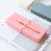 2017 School Simple Silicone Pencil Case with 1 Pcs Free Gel Pen, Soft Pen Pencil Stationery Pouch Bag Case, 18.6 x 6 x 2.4cm(China (Mainland))