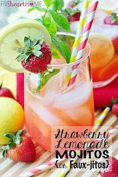 Strawberry Lemonade Mojitos {or} Faux-jitos | FIVEheartHOME | Bloglovin'