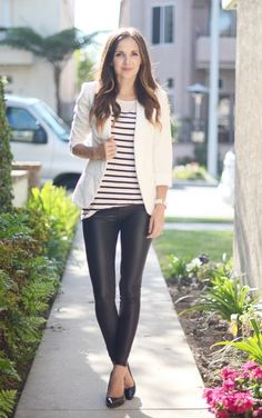 A pair of leather leggings and a striped top looks fantastic with a structured white blazer.