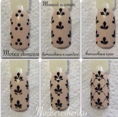 Fleur de Lys Nail Art design Tutorial step by step DIY nails Nail Art Diy, Diy Nails, Cute Nails, Manicure, Shellac Nail Polish, Acrylic Nails, Nail Art Dentelle, Diy Ongles, Nail Art Fleur